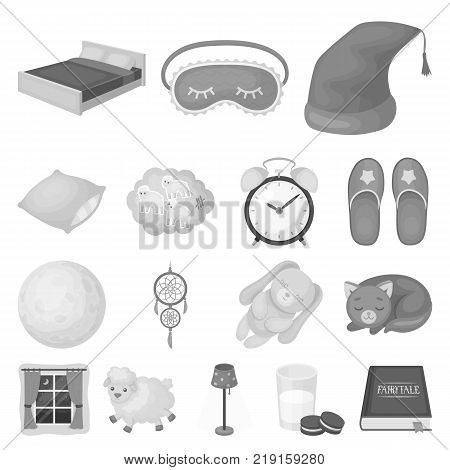 Rest and sleep monochrome icons in set collection for design. Accessories and comfort vector symbol stock  illustration.