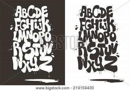 Gray and white bubble hip hop font vector