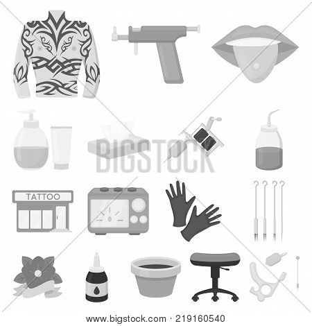 Tattoo, drawing on the body monochrome icons in set collection for design. Tattoo salon and equipment vector symbol stock  illustration.