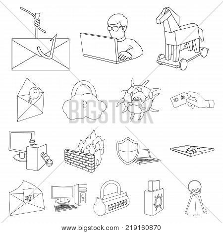 Hacker and hacking outline icons in set collection for design. Hacker and equipment vector symbol stock  illustration.