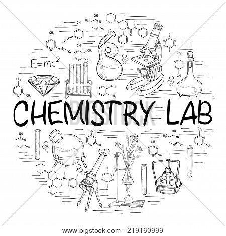 Hand drawn science vintage chemistry lab sketch round banner. Vector illustration. Doodle lab equipment. Biology, chemistry collections