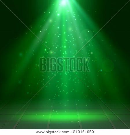 Green spotlights fog smoke Scene Disco Light Effects St. Patrick's Day Halloween Vector illustration