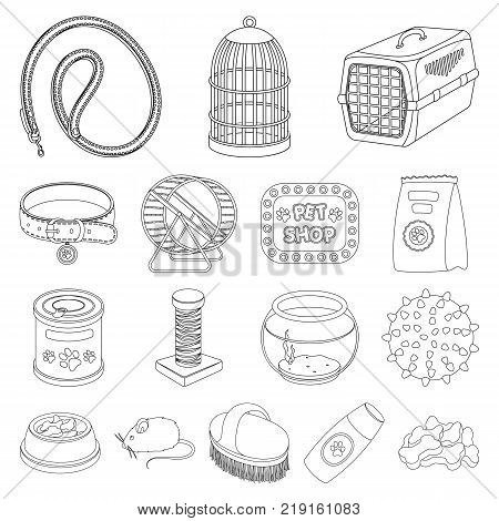 Pet shop outline icons in set collection for design.The goods for animals vector symbol stock  illustration.