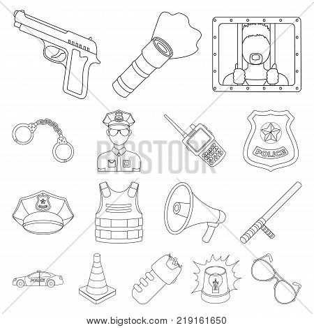 Police, Department outline icons in set collection for design.Detective and accessories vector symbol stock  illustration.