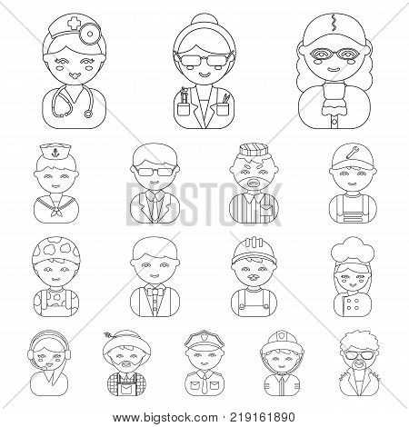 People of different professions outline icons in set collection for design. Worker and specialist vector symbol stock  illustration.