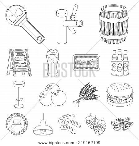 Pub, interior and equipment outline icons in set collection for design. Alcohol and food vector symbol stock  illustration.