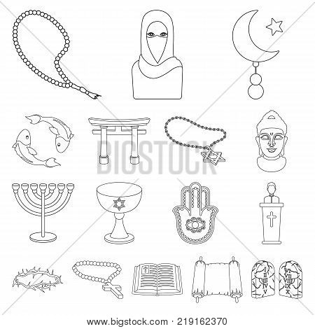 Religion and belief outline icons in set collection for design. Accessories, prayer vector symbol stock  illustration.