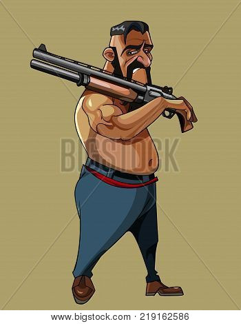 cartoon male brunette naked to the waist walking with gun on shoulder