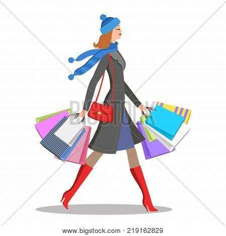Shopper young woman. Stylish cartoon girl with colourful shopping bags. Sale and shopping concept. Vector illustration eps 10
