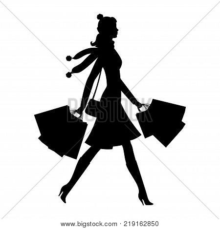Shopper young woman. Silhouette of girl with shopping bags. Sale and shopping concept. Vector illustration eps 10