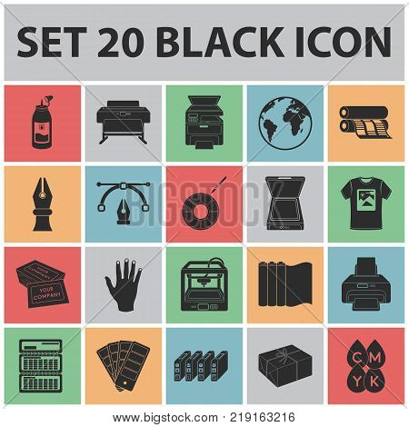 Typographical products black icons in set collection for design. Printing and equipment vector symbol stock  illustration.