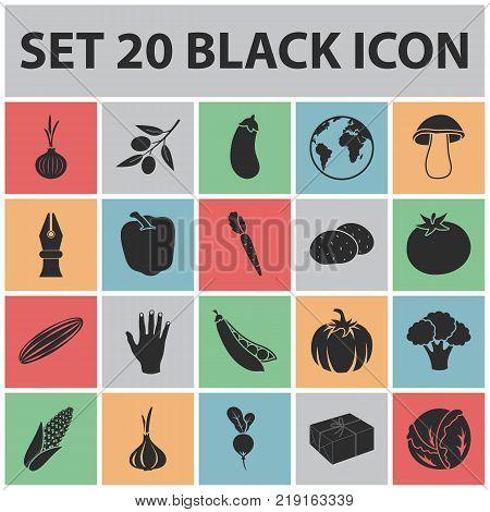 Different kinds of vegetables black icons in set collection for design. Vegetables and vitamins vector symbol stock  illustration.