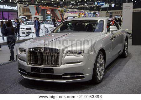 Bangkok Thailand - December 11 2017: Rolls-Royce Dawn luxury car presented in Motor Expo 2017