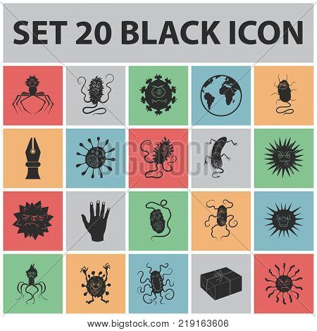 Types of funny microbes black icons in set collection for design. Microbes pathogenic vector symbol stock  illustration.