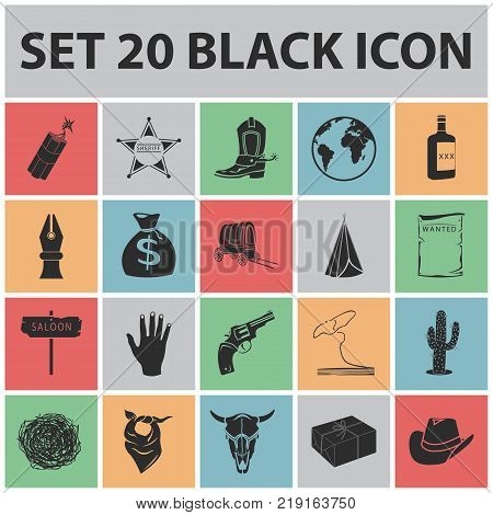 Attributes of the wild west black icons in set collection for design.Texas and America vector symbol stock  illustration.