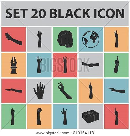 Gestures and their meaning black icons in set collection for design.Emotional part of communication vector symbol stock  illustration.