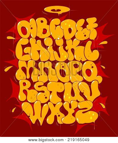 Hip hop bubble yellow vector font. Typography for poster,t-shirt or stickers.