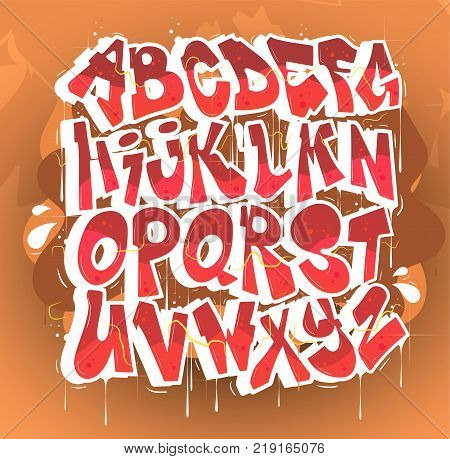 Hip hop red vector alphabet.Typography for poster,t-shirt or stickers