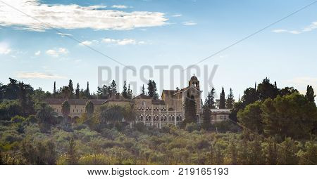 View of the monastery of the silent - Latrun early morning. It was founded in 1890. The building was built in 1927.