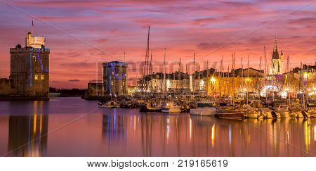 Panoramic view of Harbor by night with beautiful sunset in La Rochelle Town