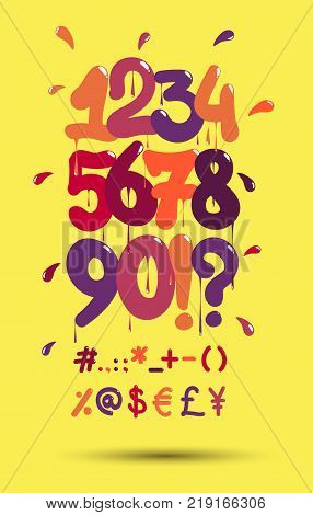 Hip hop vector font numbers & symbols on a yellow background