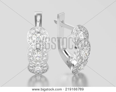 3D illustration white gold or silver decorative diamond earrings with hinged lock on a grey background