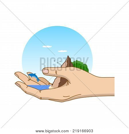 Nature in human hand. The concept of environmental protection. Template for your design with hand, ocean, dolphin, mountain and plants. Vector illustration