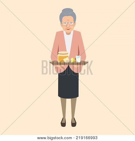 elderly woman with grandma's remedies tray - vector cartoon illustration of folk medicine in flat style