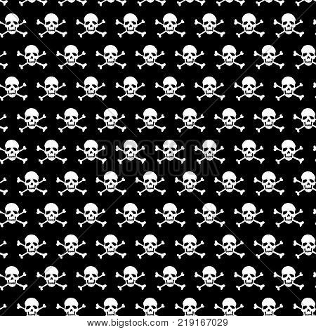 White crossbones and skull pattern on black background. Vector illustration
