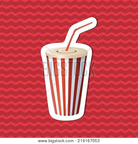 Sticker of soda cup on red striped background. Graphic design elements for menu, poster, brochure. Vector illustration of fast food for bistro, snackbar, cafe or restaurant