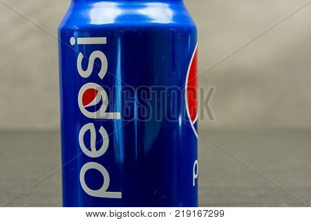 Niedomice Poland - December 20 2017: Pepsi logo on the can.