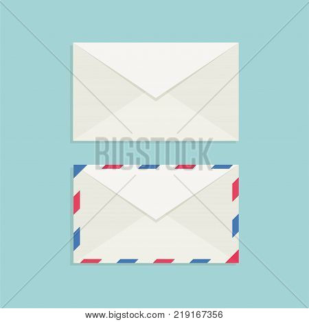 Mail envelope with shadow on a blue background. Mail icons. Vector Illustration