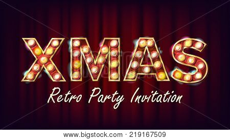 Christmas Sale Sign Vector. Font Marquee Light. Christmas Poster, Flyer, Banner, Brochure Template. Advertising Illustration