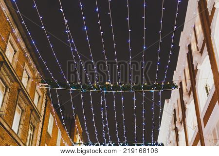 DUBLIN IRELAND - December 20th 2017: Christmas lights adorning the city center