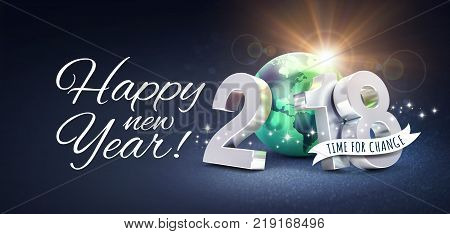 Greetings and silver New Year date 2018 composed with a green planet earth on a glittering black background - 3D illustration