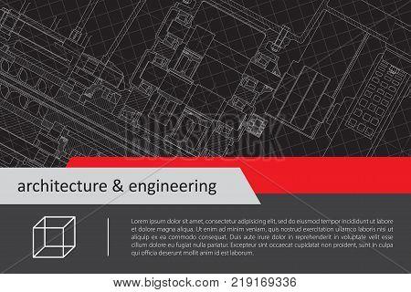 Vector technical blueprint of mechanism. Engineer illustration. Architect background
