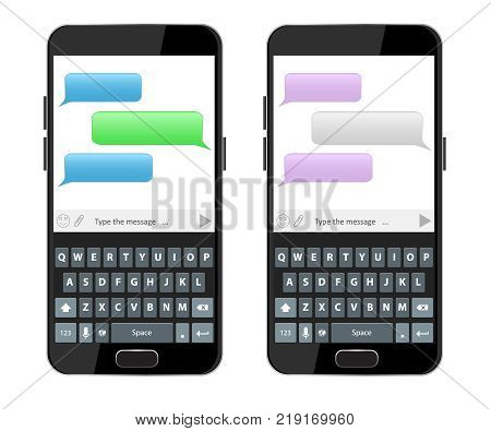 Keyboard of smartphone. Text message boxes on smartphone screen. Empty text bubbles set. Qwerty keyboard.
