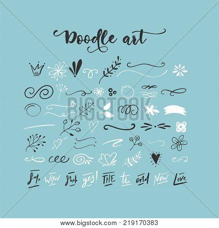 Handdrawn vector doodle set. Floral elements, swashes, lines, short text messages