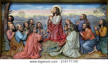 STITAR, CROATIA - NOVEMBER 11: Jesus and Apostles in the Mount of Olives, fresco in the church of Saint Matthew in Stitar, Croatia on November 11, 2016.