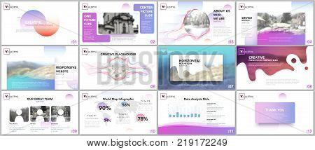 Clean and minimal presentation templates. Colorful elements on white background for your portfolio. Brochure cover vector design. Presentation slides for flyer, leaflet, brochure, report, advertising