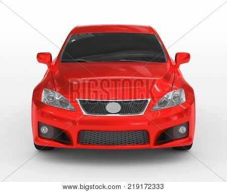 car isolated on white - red paint, tinted glass - front view - 3d rendering
