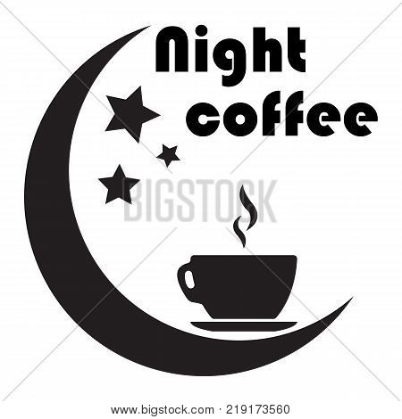 Close up of coffee cup With the moon and the stars on white background. concept-night coffee. Work late. fatigue.