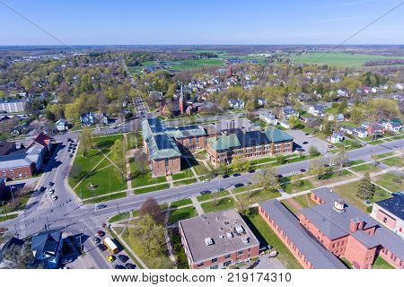 Aerial view of Old Snell Hall of Clarkson University in Potsdam, Upstate New York, USA.
