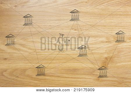 enrolling for academic studies conceptual illustration: graduate student in between a network of different university buildings