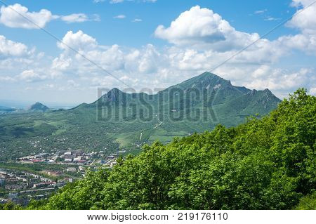 Beshtau is an isolated five-domed igneous mountain near Pyatigorsk in the Northern Caucasus Russia