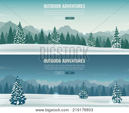 Landscape with mountain peaks. Winter sport vacation and outdoor recreation. Concept website template. Vector illustration