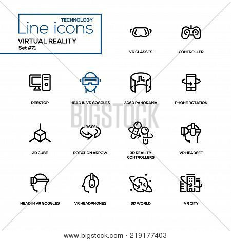 1318562a187 Virtual reality - line design icons set. High quality black pictogram. Vr  glasses
