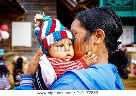 Ethnic Children At Mountain Village
