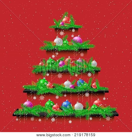 Christmas tree of five shelves showcases with shadow on red wall background. Advertising holiday plank shelf store. Sale interior furniture poster