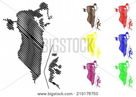 Bahrain map vector illustration , scribble sketch Kingdom of Bahrain
